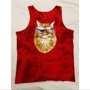 America/USA cat tie-dye graphic tank top